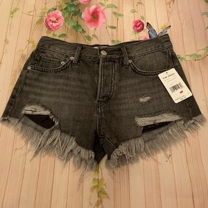 Free People Cutoff High Waist Denim Shorts